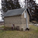Smoke House/Pump House, cinder block imitation stone,Boardman Township