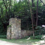Pillar and Fence, South entrance to Bixby State Park, off Fortune Avenue, Lodomillo Township