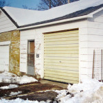 Gable facing, rectangular outbuilding, on alley behind 102 North River Park Drive, corner of North River Park Dr & China St, south & east facades prior to cladding garages with vinyl siding, Jefferson Township