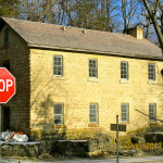 Motor Mill, Cooperage, river slope of roof after completion and roof jack removal; preceding rebuild of upstream brick chimney, Read Township