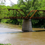"""Motor Mill bridge, reconstructed 2012, dedicated 2013. Viewed from same spot as """"pier"""" photo, Read Township"""
