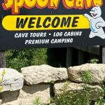 Spook Cave entry sign and stone wall, near Monona, Iowa